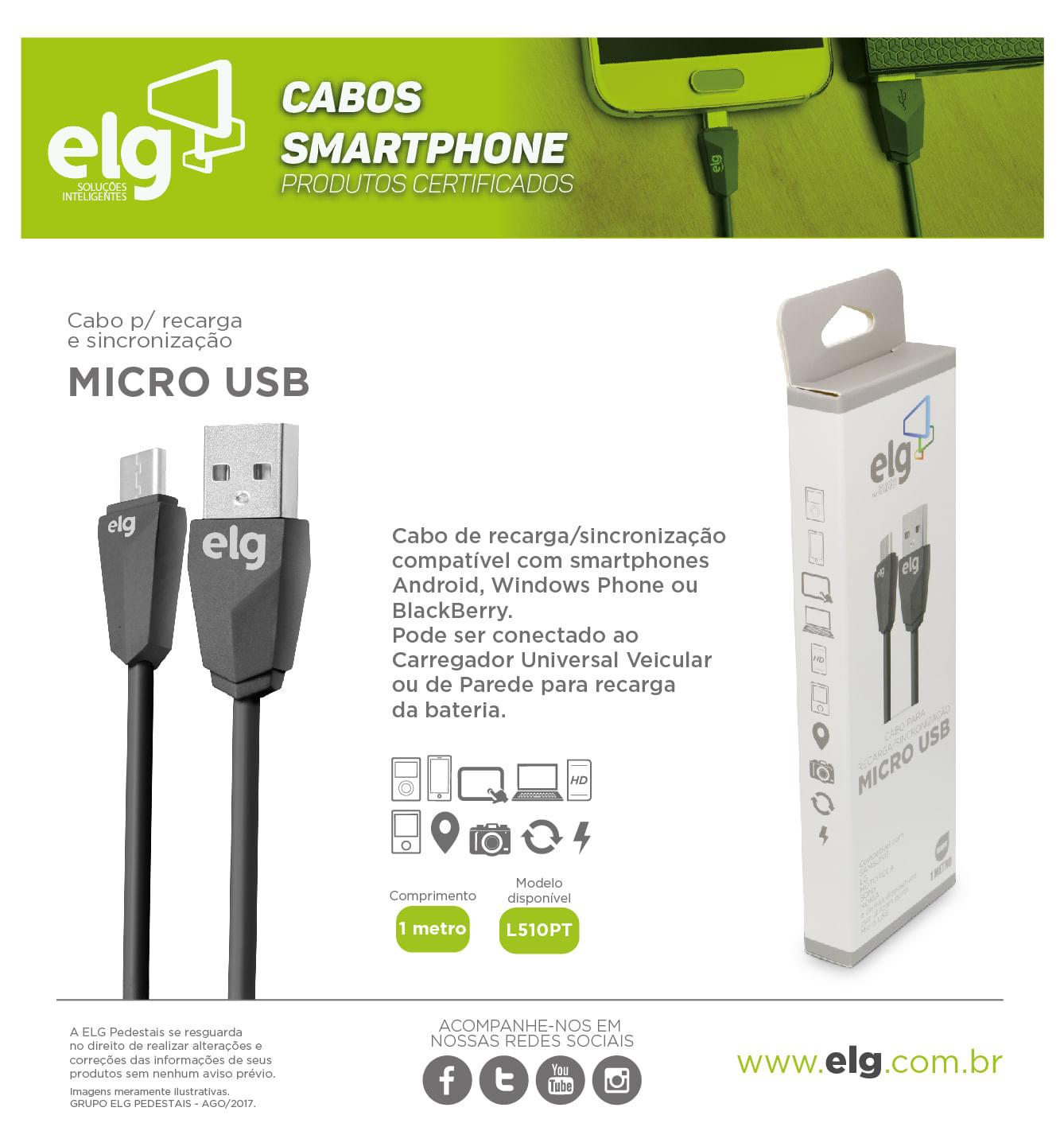 Cabo Micro USB 1 Metro Recarga Sincronização L510PT Preto - ELG Store