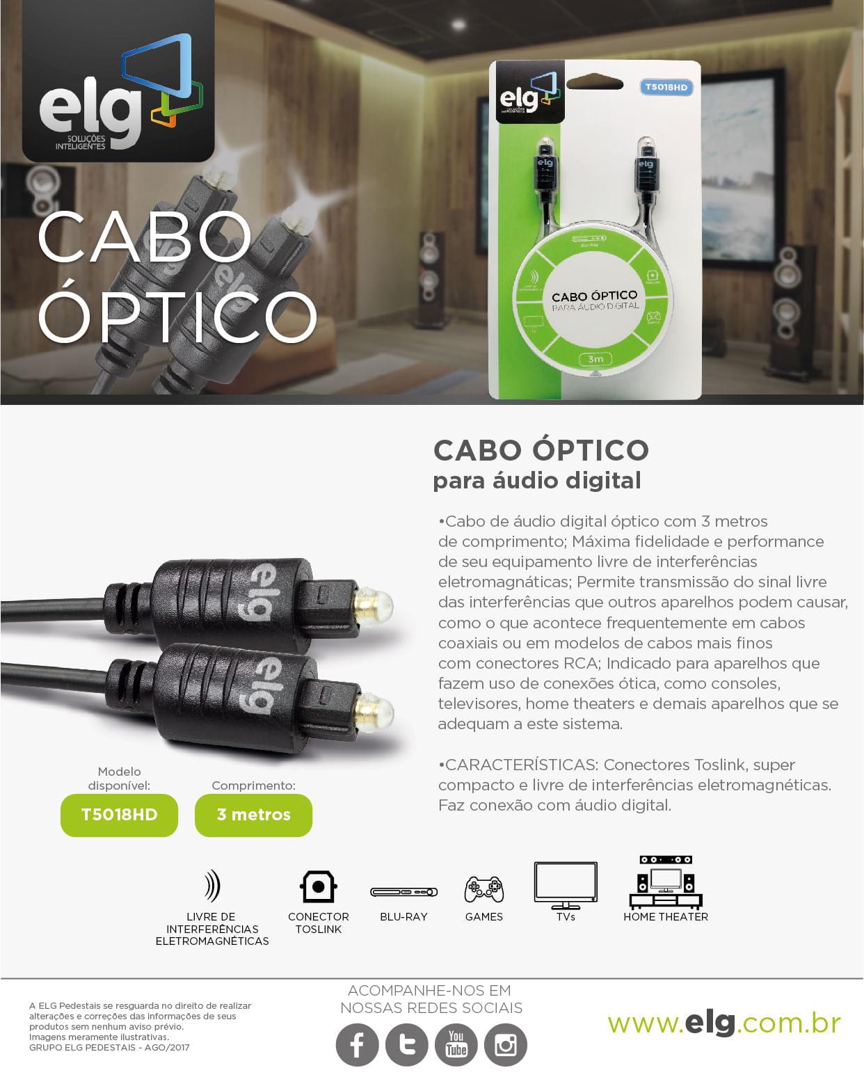 Cabo Óptico 3m Conector Toslink Áudio Digital T5018HD Preto ELG Store - ELG Store