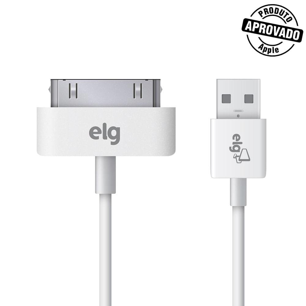 b7dd14946ad Cabo USB Recarga e Sincronização 30 Pinos 1 metro Branco ELG Store ...